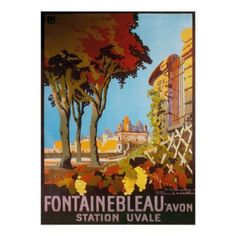 Vintage 1926 Fontainbleau Avon Station Uvale Poster - retro gifts style cyo diy special idea