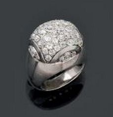 Suzanne Belperron Dome Ring | silver and platinum with diamonds | c1932-37