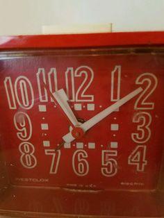 70's Vintage Red  Cube Alarm Clock Dialite  Mid Century Modern Westclox  #Westclox