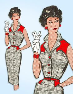 1950s Original Vintage Anne Adams Pattern 4679 Uncut Misses Rockabilly Dress 34B #AnneAdams