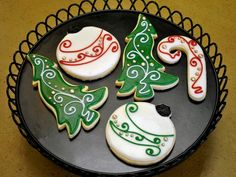 Christmas Tree Candy Cane and Ornament Hand Decorated Cookies