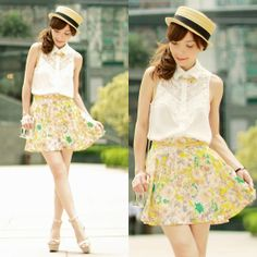 Sheinside White Sleeveless Lace Front Shirt, I Any Wear Yellow Floral Skirt, Choies Clear Perspex Clutch, Zara Nude Wedges, Boater Hat, Candy Colours Necklace