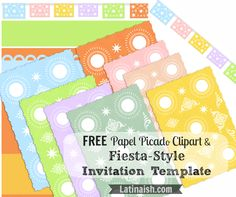 Free papel picado clipart and fiesta-style invitation templates. Totally free to use, modify and download for personal use.
