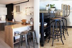 | Cocinas pequeñas con barra americana | Decofilia Kitchen, Table, Room, Inspiration, Furniture, Home Decor, Kitchen Bars, Decoration Home, Home Decoration