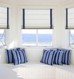Blindsgalore® Designer Roman Shades: Shown in Americana: Chalk with Cordless lift, Plain Fold, and Indigo inset decorative accent Cute Bedroom Ideas, Cute Room Decor, Room Ideas Bedroom, Bedroom Decor, Dream Rooms, Dream Bedroom, Master Bedroom, Aesthetic Room Decor, My New Room