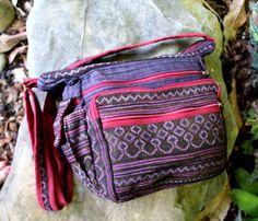 Ethnic Hmong Embroidered Batik Cross Body by SiameseDreamDesign,  #Tribal #Hmong #Crossbody #Bag