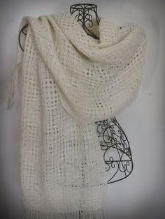 Alpaca woven in Huck lace--try filet crochet with fine alpaca...
