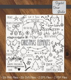 A bundle of vintage Holiday doodles; Santa Claus, reindeer, tree shape, New Year, retro ornaments illustrations. Christmas Doodles, Christmas Drawing, Christmas Clipart, Merry Christmas, Xmas, Outline Illustration, Outline Drawings, Bullet Journal Set Up, Bullet Journal Layout