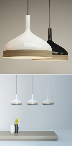 OK -  pendant by { designvagabond } A linear accent of wood nicely contrasts with porcelain on this Plera pendant.