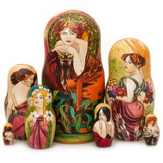 A. Mucha's Paintings Nesting Doll - Alfons Mucha, a Czech painter, theater artist, illustrator, jewelry designer, and poster artist, was one of the most famous representative of art nouveau. Every one of Mucha's works is permeated with inimitable style that is full of erotic energy and brightly-colored, prosperous bliss.