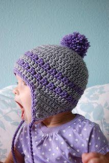 Free Pattern: Earflap Hat (Preemie-Toddler) #HatsCrochetPatterns