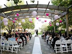 Love the colored paper lanterns over the guest chairs in this ceremony at West Belmont Place Leesburg, Virginia