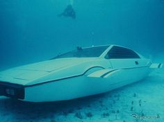 "The Tesla Model S reportedly has an option to turn the electric car into a submarine; like the Lotus Esprit car, the submersible vehicle featured in the James Bond movie ""The Spy Who Loved Me"". Lotus Esprit, Automobile, Spy Who Loved Me, Bond Cars, James Bond Movies, Elon Musk, Animal Projects, Water Crafts, Car Pictures"