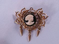 Vintage Cameo Pin/Brooch with Rhinestones and by VintiqueJools, $14.00