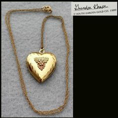 Vintage 10kt Tri Color Black Hills Gold Heart Locket MIB 3.9 Grams from toinetterl on Ruby Lane