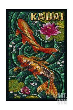 Kauai, Hawaii - Koi Mosaic Art Print by Lantern Press at Art.com