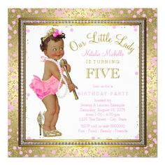 Little Lady Girls 5th Birthday Party Ethnic Girl Card