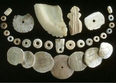 Mitchell Site, South Dakota. Native American Indian shell artifacts.