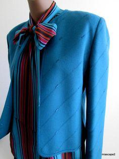 Vtg 90's LOUIS FERAUD Wool Blazer Suit Jacket & SILK Blouse *PRISTINE* 42 M L 12