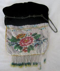 Floral Glass Bead & Black Velvet with Chain Handbag –  As Found