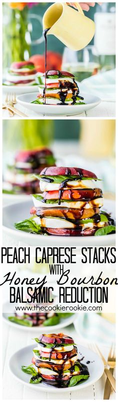 Peach Caprese Stacks with Honey Bourbon Balsamic Reduction. This is my FAVORITE healthy breakfast, brunch, lunch, or dinner! Holding onto Summer as long as possible with this salad! Brunch, Tapas, Honey Bourbon, Healthy Snacks, Healthy Recipes, Healthy Eats, Good Food, Yummy Food, Bbq