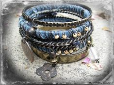 Bracelet from old jeans #recycled #reconstructed #denim #jeans