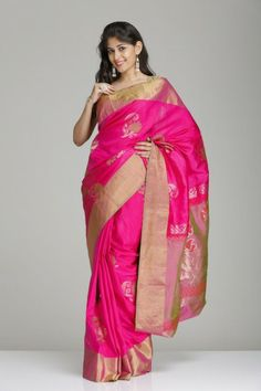 Stunning Pink Soft Silk Saree With Wide Gold Tissue Border & Floral Motifs