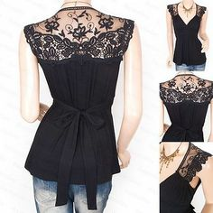 New Black Cross Bust Lace Embroidered Back Blouse Top