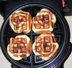 Cinnamon Rolls  Heat up your waffle maker and grease it with a bit of non-stick spray. Separate your rolls then place them into a belgian waffle maker. Close the lid and press down slightly.    Set the timer for 2 1/2 – 3 minutes.