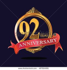 92 years anniversary golden logo with soft red ribbon. anniversary logo for birthday, celebration, wedding, party