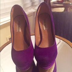 "Purple platform heels! Purple suede platform heels by Steve Madden.  These are comfortable with a 5"" heel. Steve Madden Shoes Platforms"