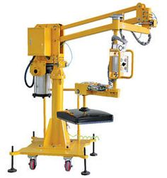 Air Balance Jib Lifter (Portable) achieves high performance, excellent safety and low cost in the handling of heavy materials. Designed to effortlessly handle materials in a three dimensional work space. The push-button hand control operates the pneumatic cylinder, raising and lowering the cable, in turn, positioning the load