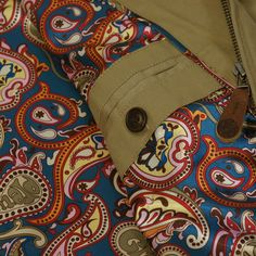 6f893d46007 Paisley Design Lining- Pretty Green Mens Harrington Jacket in Stone  Harrington Jacket