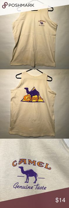 Preowned 1995 vintage Camel Tank Top Preowned 1995 vintage Camel Tank Top. Size large in fair condition except for multiple stains and discoloration due to age of tank top. The size tag was removed from product.  Smoke-free home. Submit all offers. A1 Camel Shirts Tank Tops