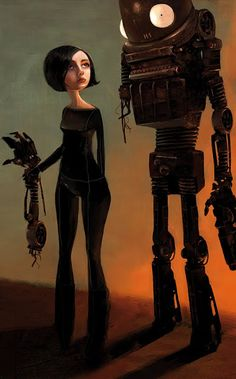 Girl & robot by Benoit Godde