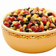 A spicy, colorful salsa made with black beans, diced tomatoes with green chilies, corn, red onion and cilantro