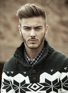 Love this hair style for men. It can be style sooooo many different ways. In growing out Eli's hair very similar to this :) love this sweater so much to!