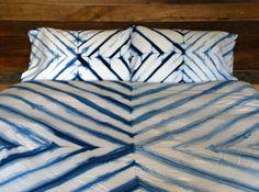 hand dyed indigo bedding duvet by riversidetoolanddye on Etsy