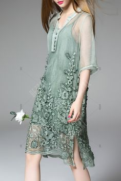 Embroidered Sheer Dress Twinset