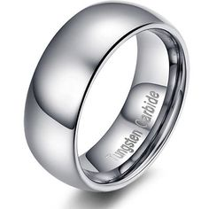 Tianyi 6mm High Polished Tungsten Carbide Classic Wedding Band Rings Silver Gold Comfort Fit