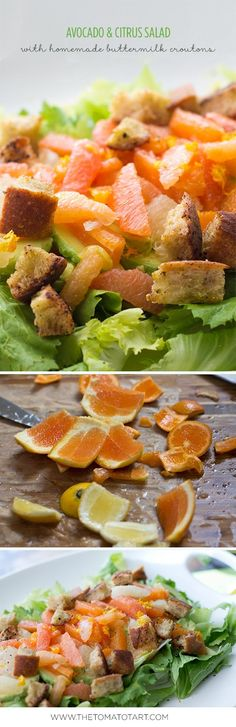 Avocado Citrus Salad with Homemade Gluten Free Croutons