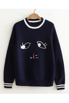 Cute Cat Embroidery Knitted Sweater