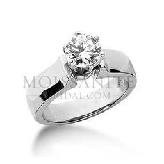 Wide Band Round moissanite Solitaire engagement ring: MoissaniteBridal.com
