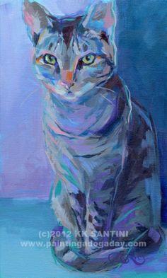 Evil Eye Bad Kitty #, painting by artist Kimberly Kelly Santini