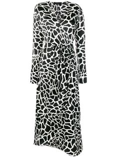Federica Tosi printed wrap dress - Black Animal Print Wedding, White Silk, Black And White, Print Wrap, Wrap Style, Mid Length, Wrap Dress, Women Wear, Dress Black