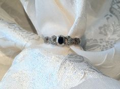 Vintage Victorian Style Onyx & Marcasite Women's Ring Sterling Silver. $49.00, via Etsy.