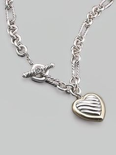 David Yurman Sterling Silver & 18K Yellow Gold Heart Charm Necklace  #SaksLLTrip (GI)