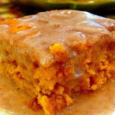 2 Ingredient Pumpkin Cake with Cider Glaze...trying this as I type!  Didn't have apple cider - or pumpkin pie spice  :(  I used Orange Juice and Apple Pie Spice...we'll see!