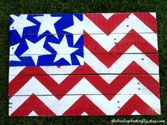 Hand Painted Chevron American Flag - Etsy - The Burlap Butterfly