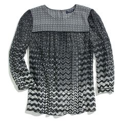 Madewell Silk Peasant Blouse in Chevron $110